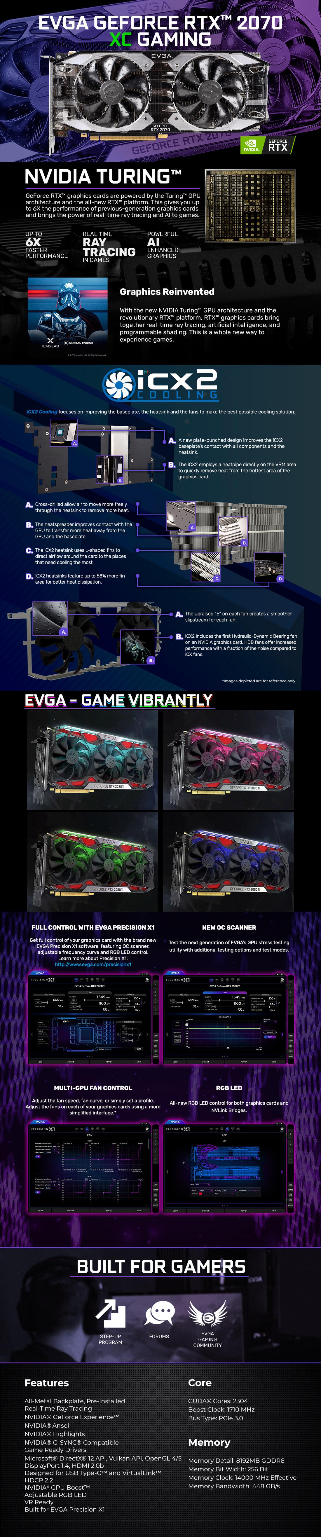 EVGA GeForce RTX 2070 XC Gaming 8G Graphics Card