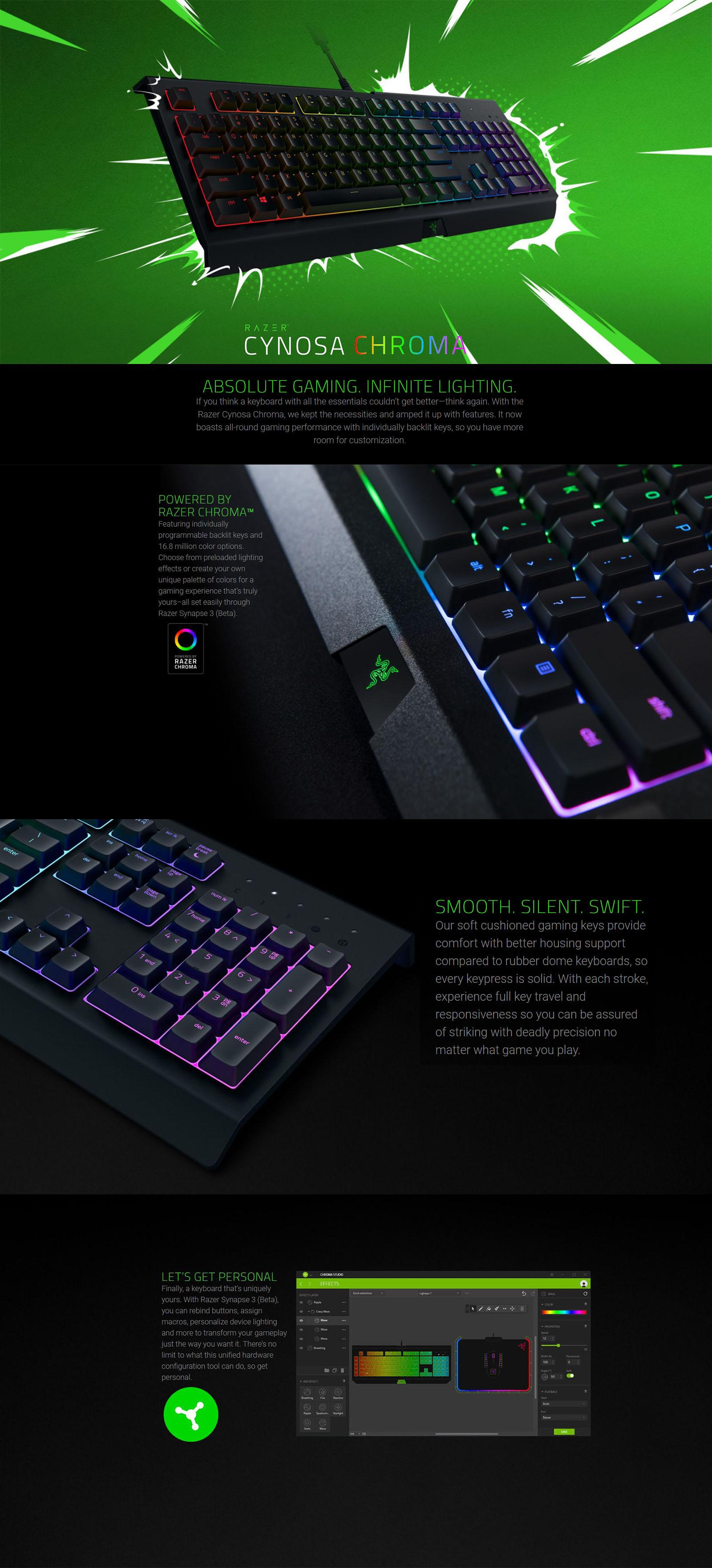 25d0eb9c90b Razer Cynosa Chroma Multi-color Membrane Gaming Keyboard - Umart.com.au