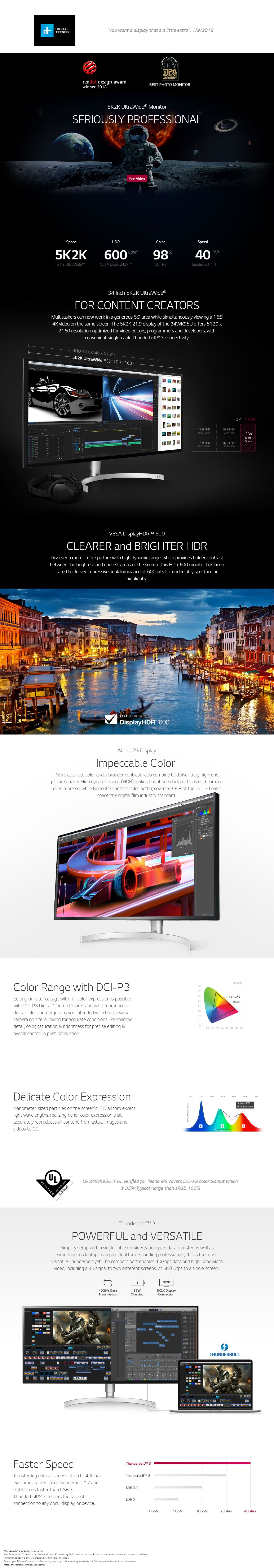 LG 34in Nano IPS 5120x2160 Thunderbolt 3 HDR600 Monitor (34WK95U)
