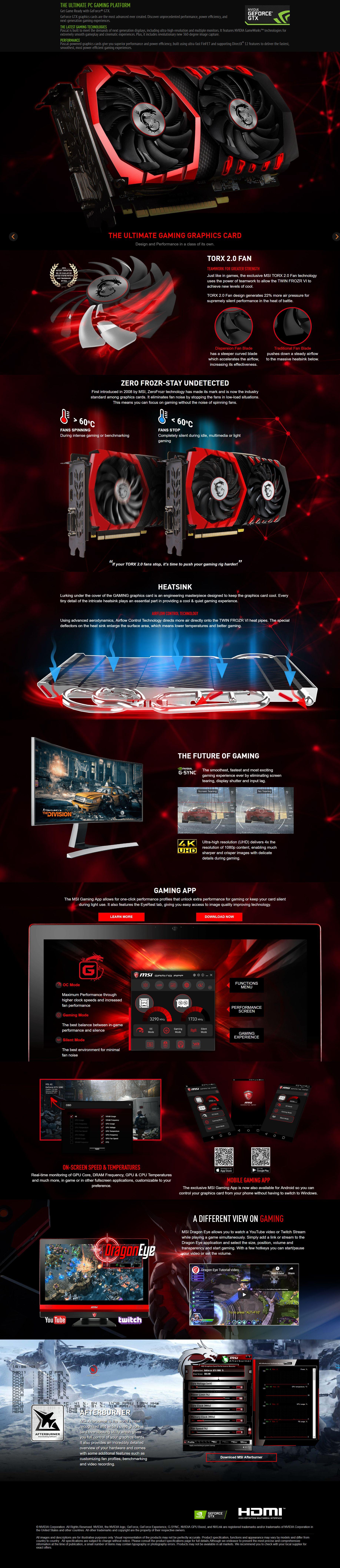 MSI GeForce GTX 1050 Ti Gaming X 4GB Video Card