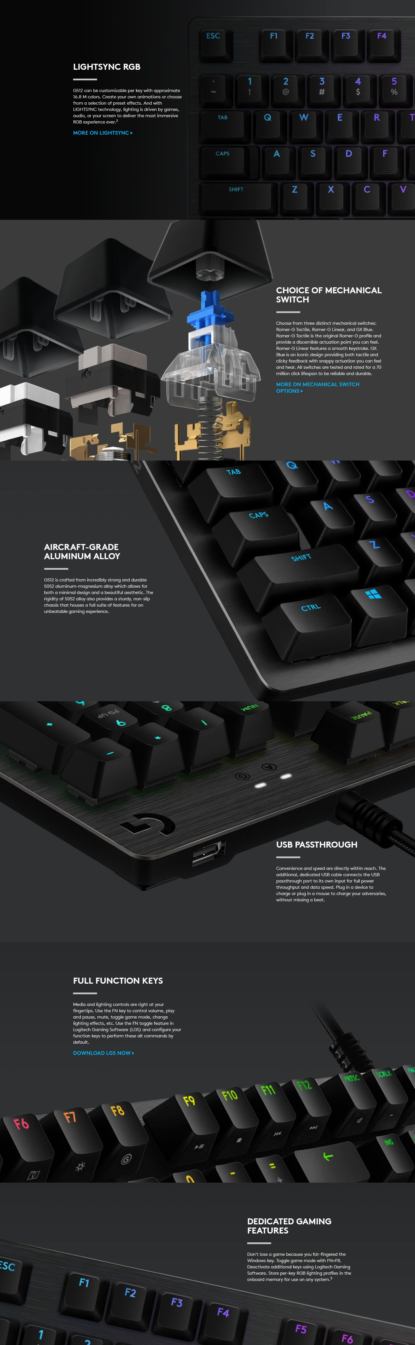Logitech G512 Carbon RGB Mechanical Gaming Keyboard - Linear Switch