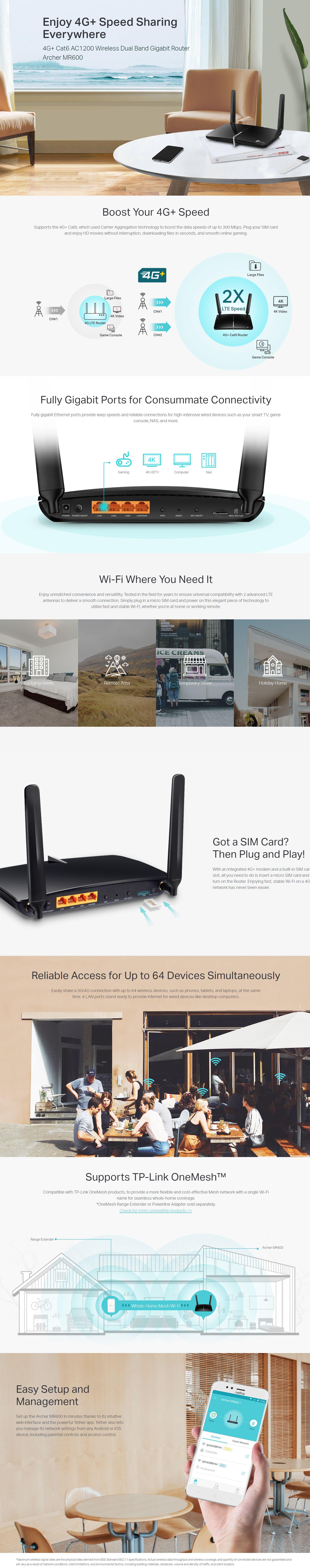 TP-Link Archer MR600 4G+ AC1200 Wireless Dual Band Gigabit Router