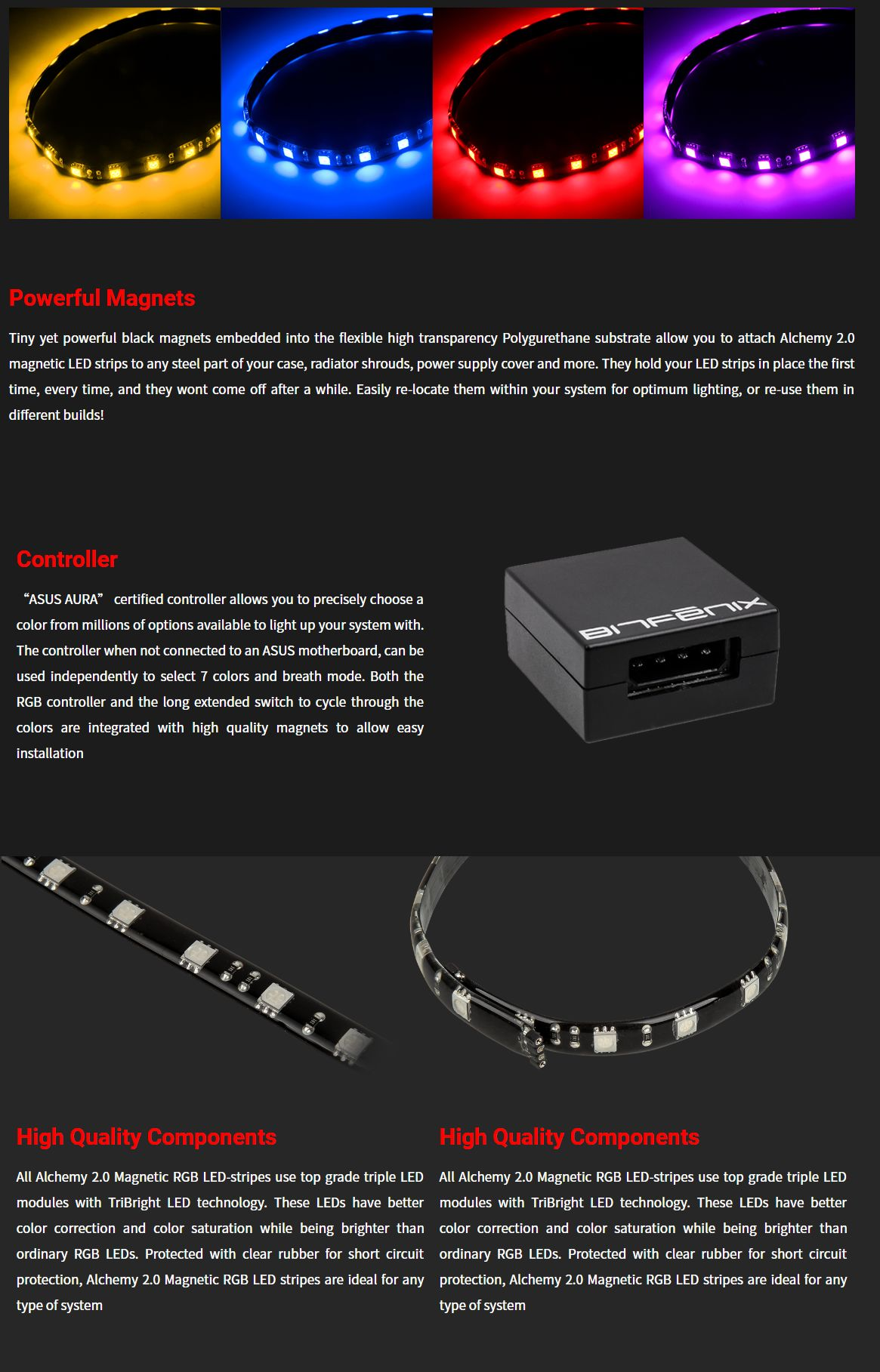 Bitfenix Alchemy 2 0 RGB Magnetic LED Strip and Controller - 600mm