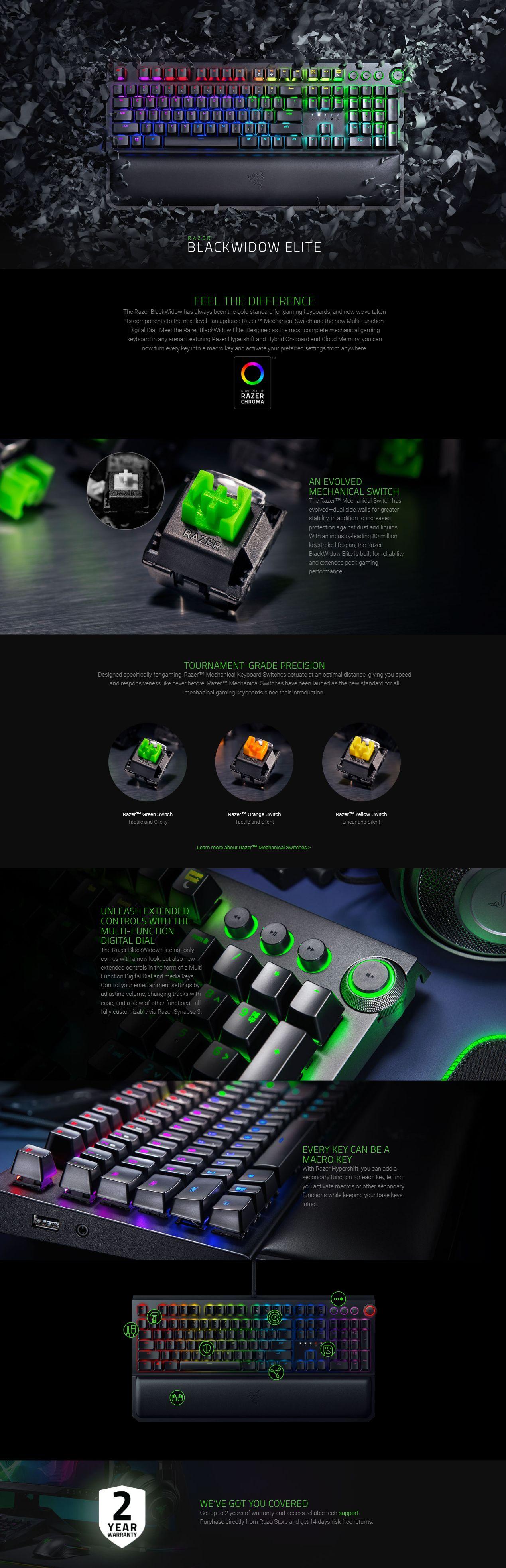 Razer BlackWidow Elite Chroma Mechanical Gaming Keyboard - Green Switch