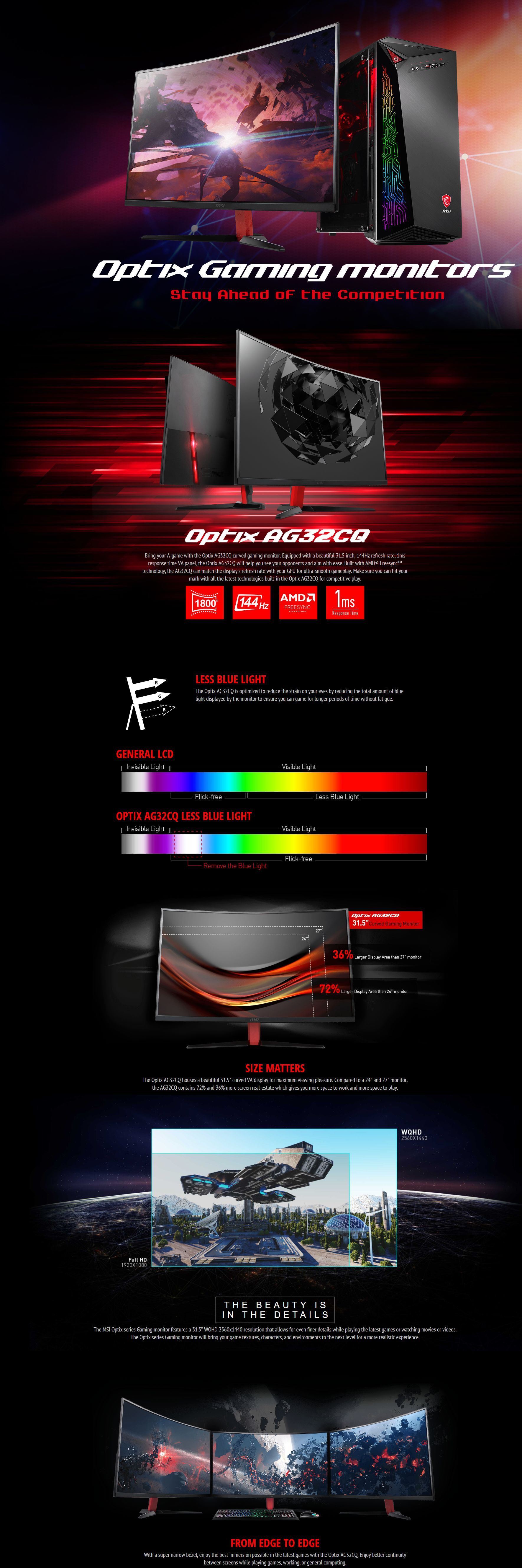 MSI OPTIX 31.5in 2K-QHD Curved Gaming Monitor (AG32CQ)
