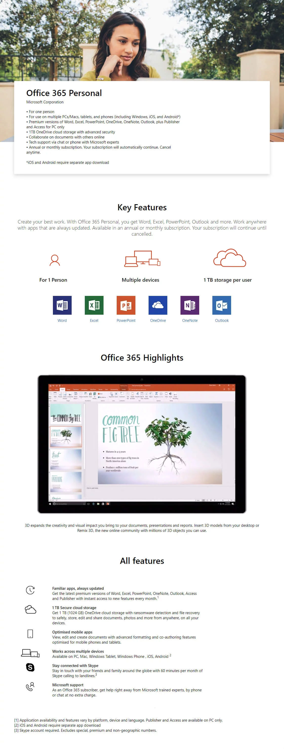 Microsoft Office 365 Personal Mac/Win(1 Year Subscription)