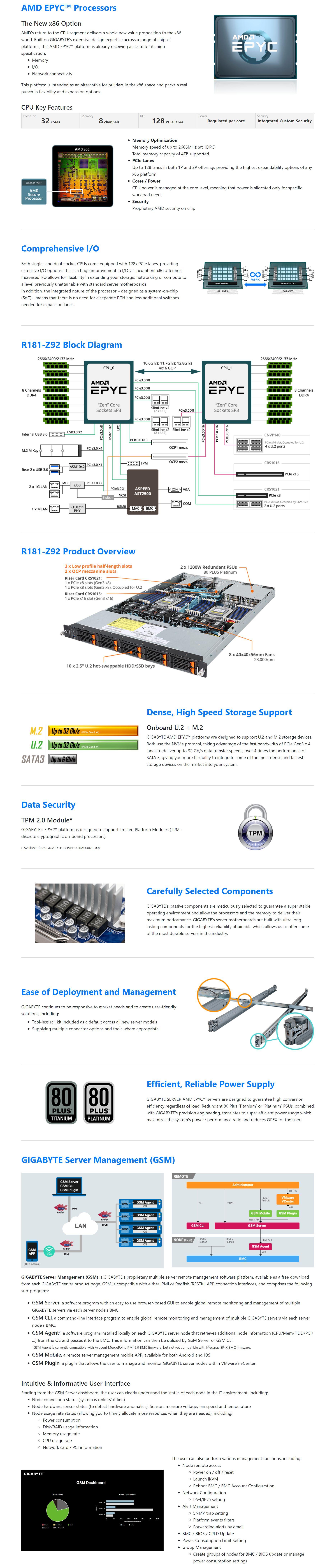 Gigabyte R181-Z92 AMD EPYC 1U Dual Socket Rack Mount Barebones Server