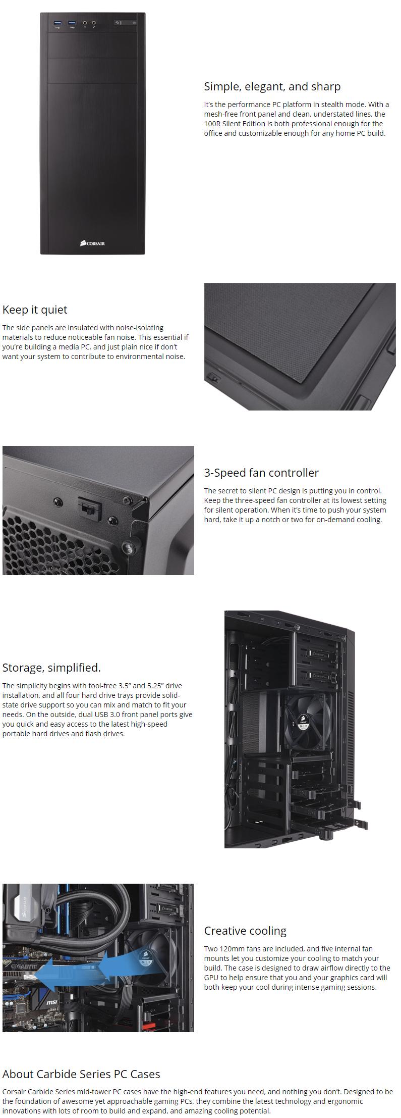 Corsair Carbide Series 100R Silent Ed Mid Tower Case