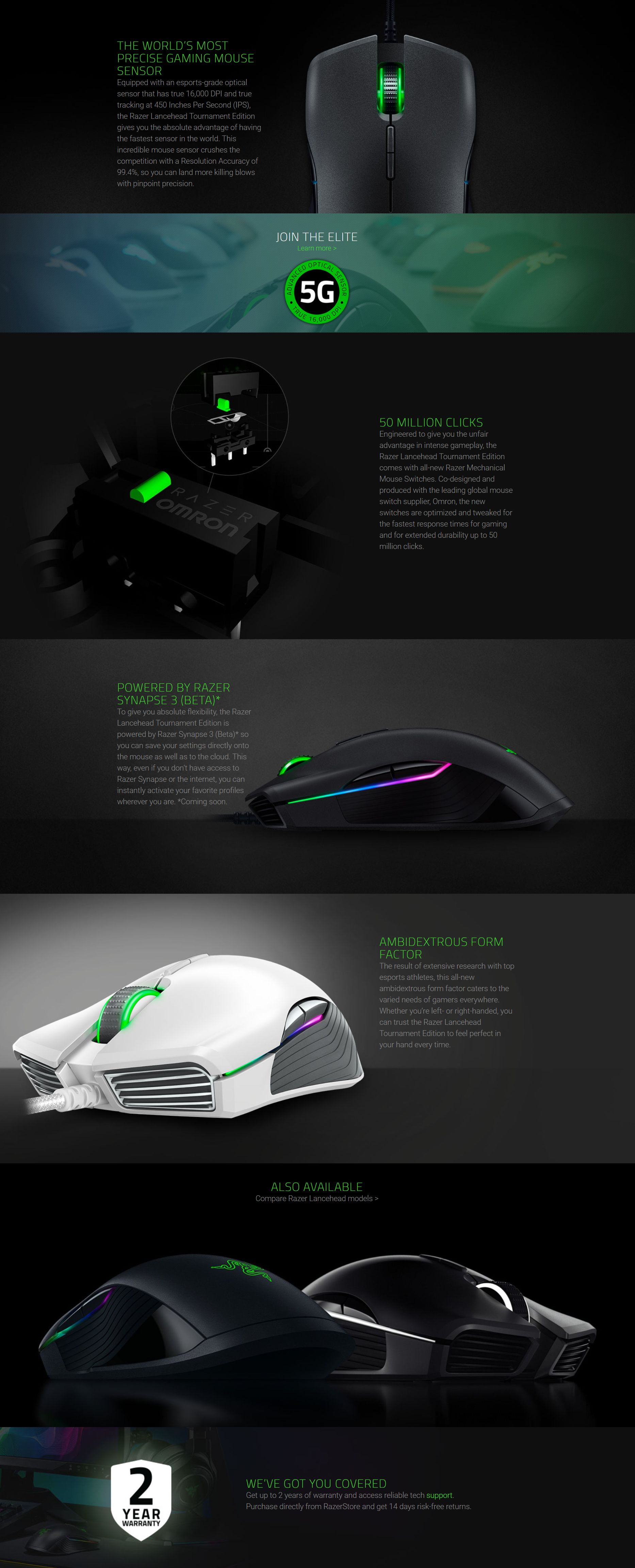 Razer Lancehead Tournament Edition Gunmetal Grey Ambidextrous Gaming Mouse