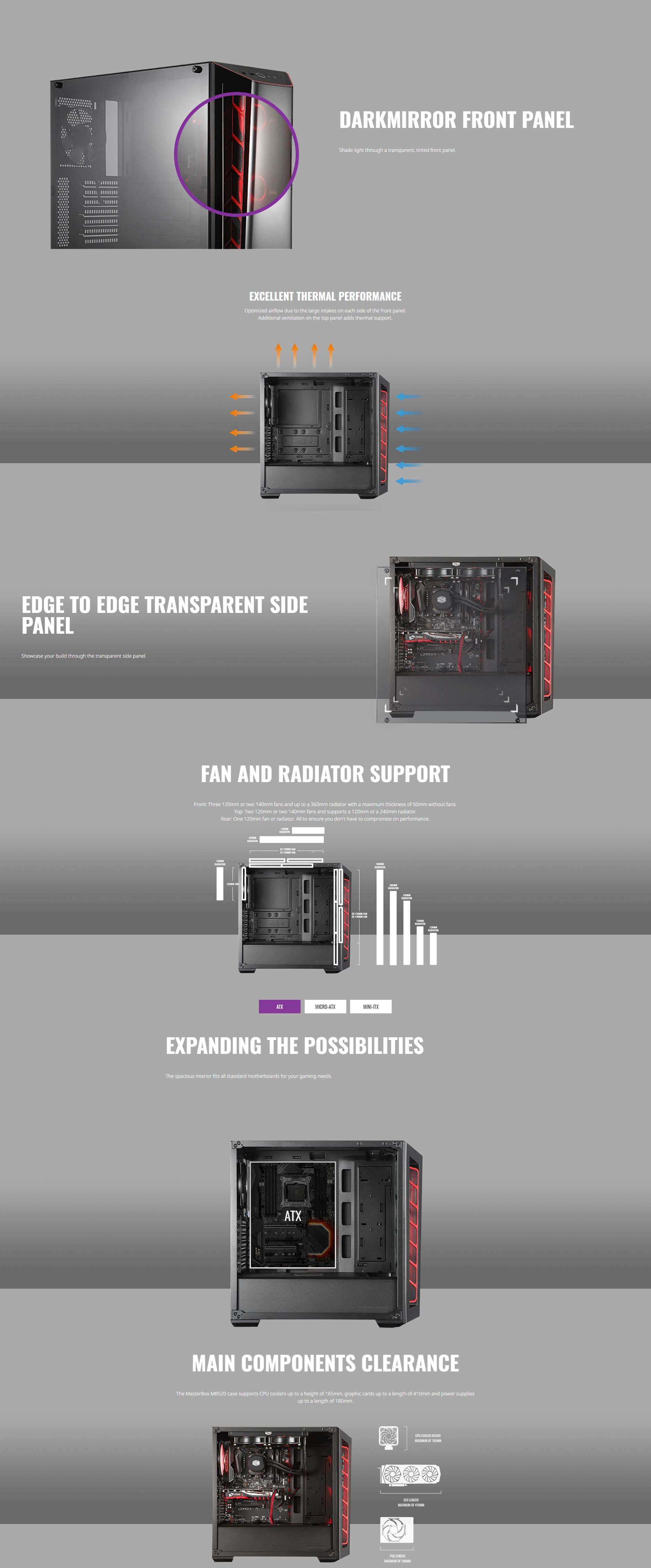 Cooler Master MasterBox MB520 Tempered Glass Mid Tower ATX Case