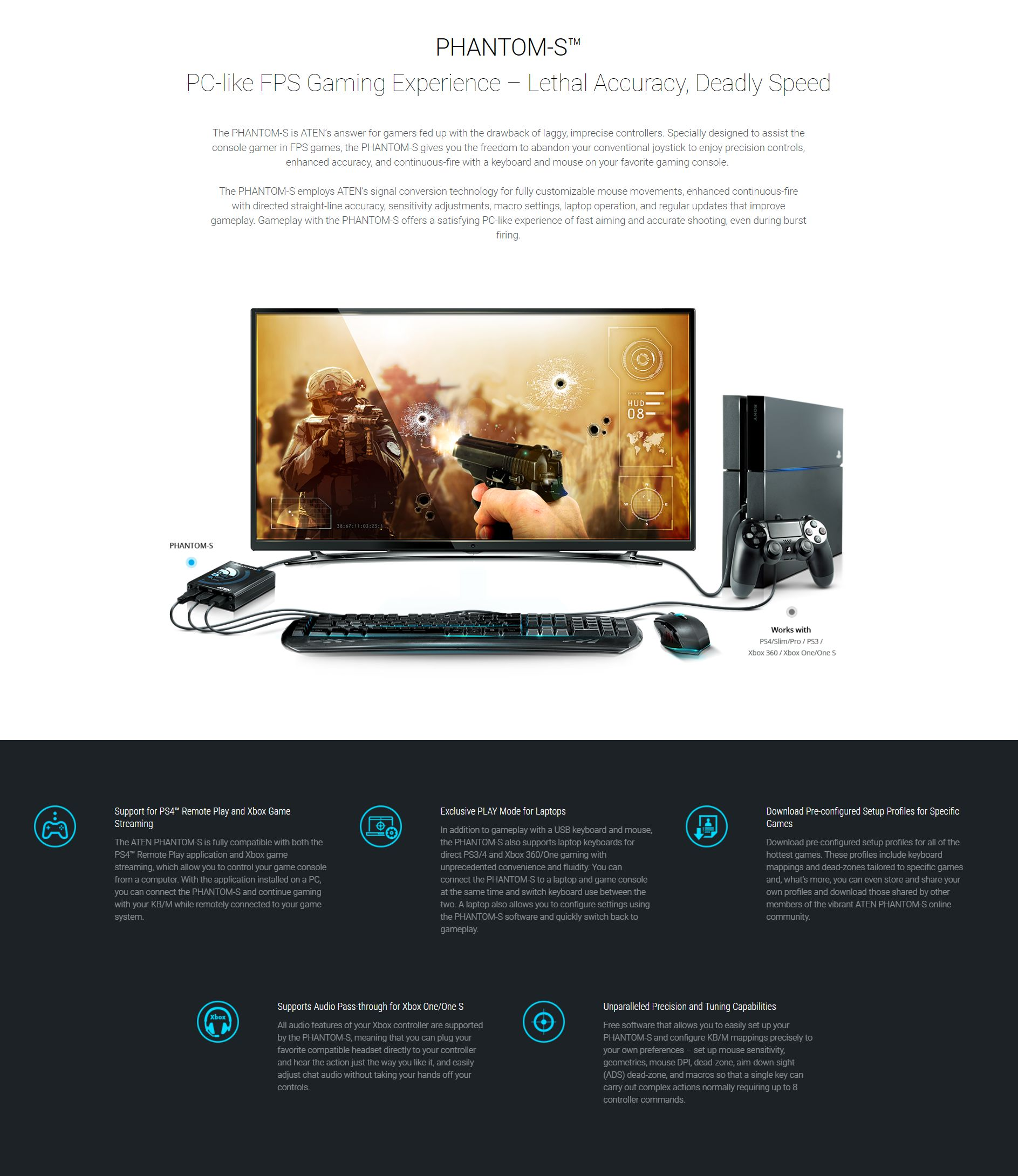 Aten UC3410-AT Phantom-S Gamepad Emulator for PS4 / PS3/ Xbox 360/ Xbox One