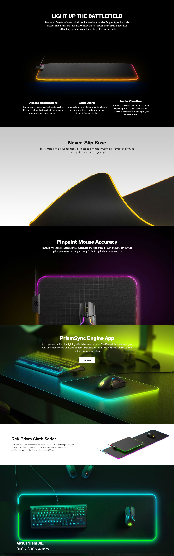 SteelSeries QCK Prism RGB LED Cloth XL Mousepad