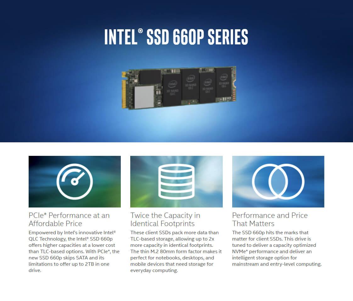 Intel SSD 660P Series 512GB PCIE M.2 3D2 QLC