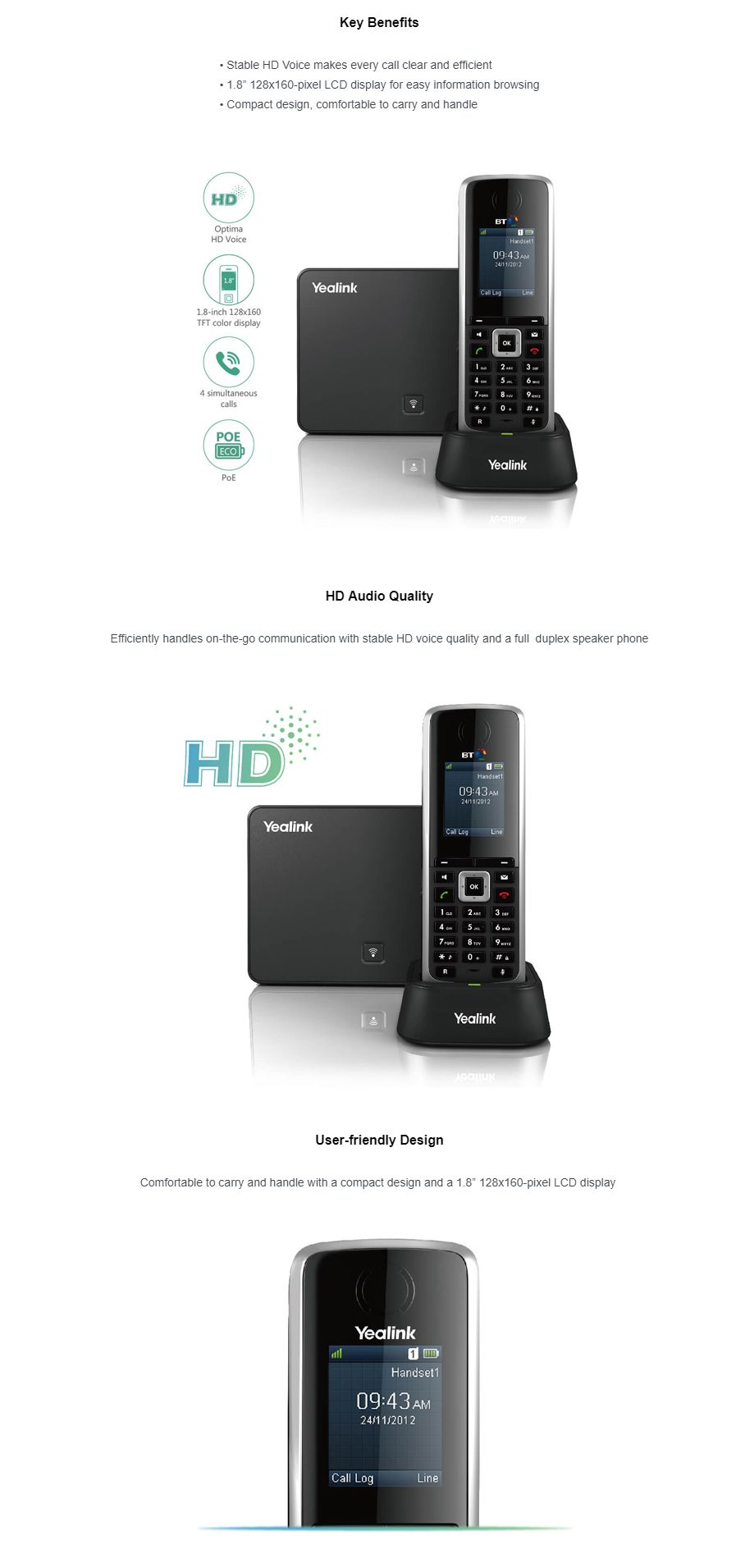 Yealink W52P SOHO HD VOIP DECT Phone Kit with Base Station