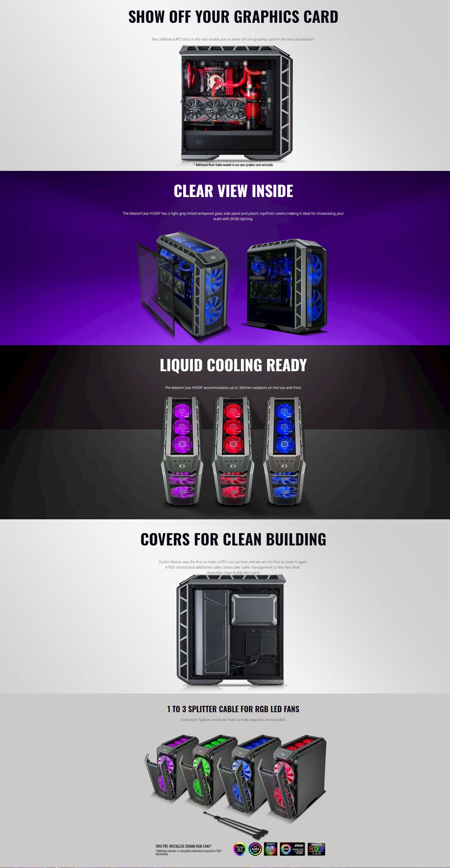 Cooler Master Master case H500P Tempered Glass 2x200RGB FANS