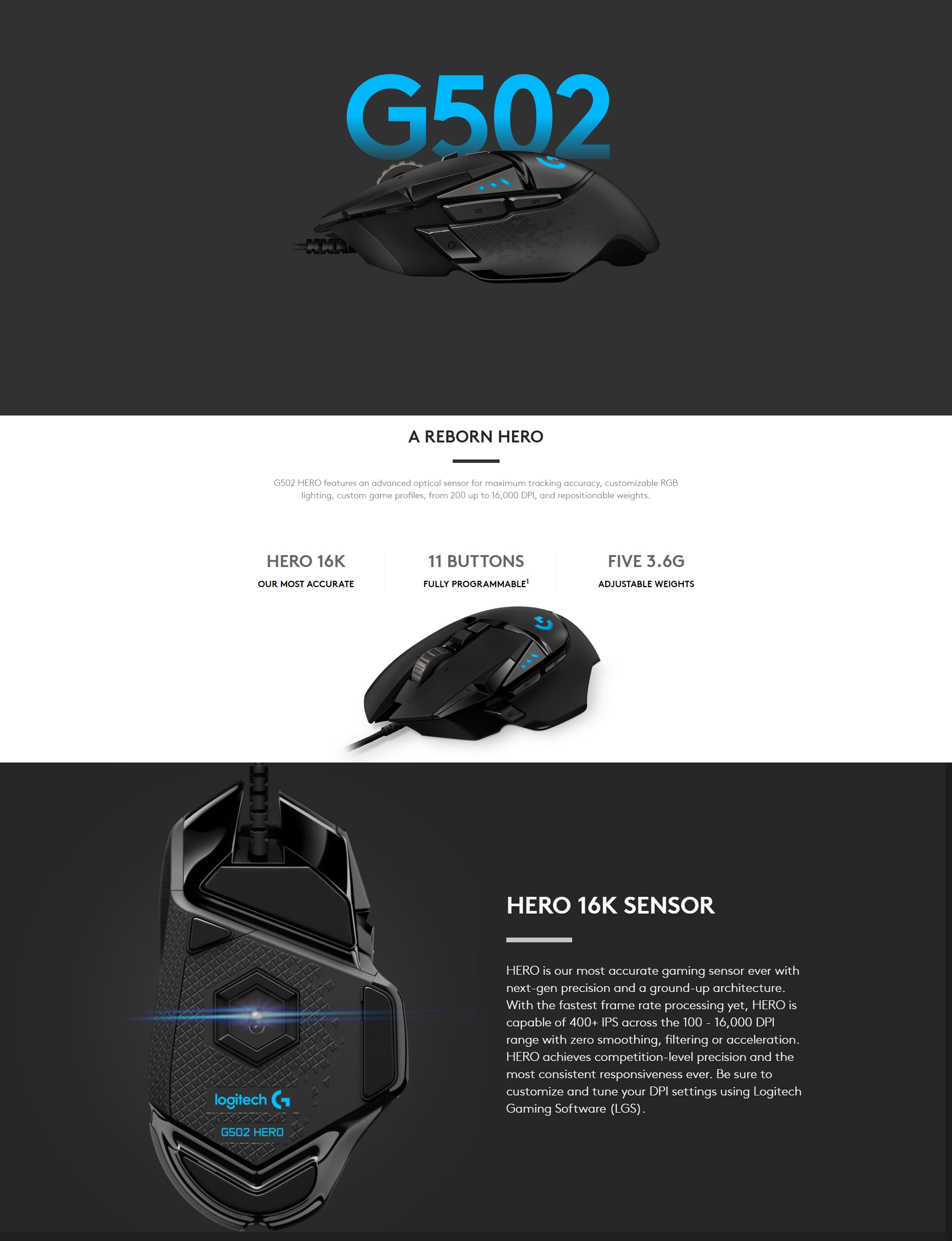 Logitech G502 HERO RGB Gaming Mouse