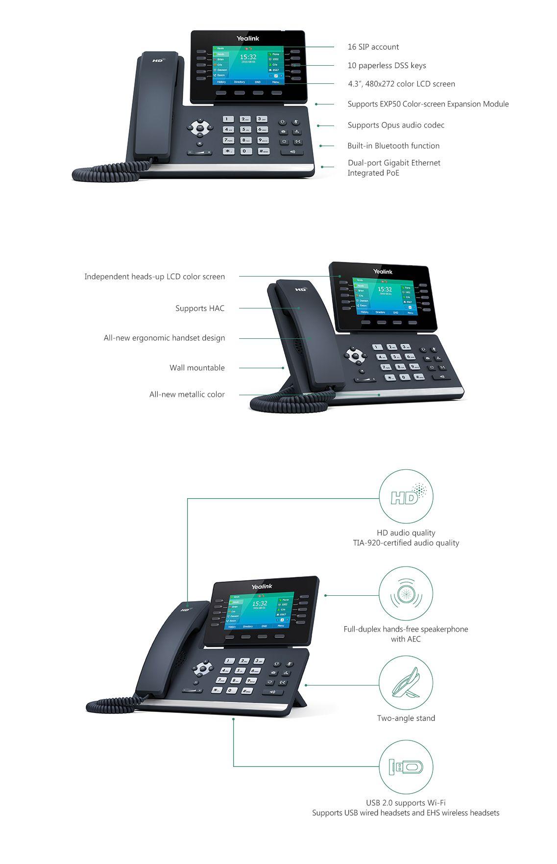 Yealink SIP-T54S Media VOIP Phone