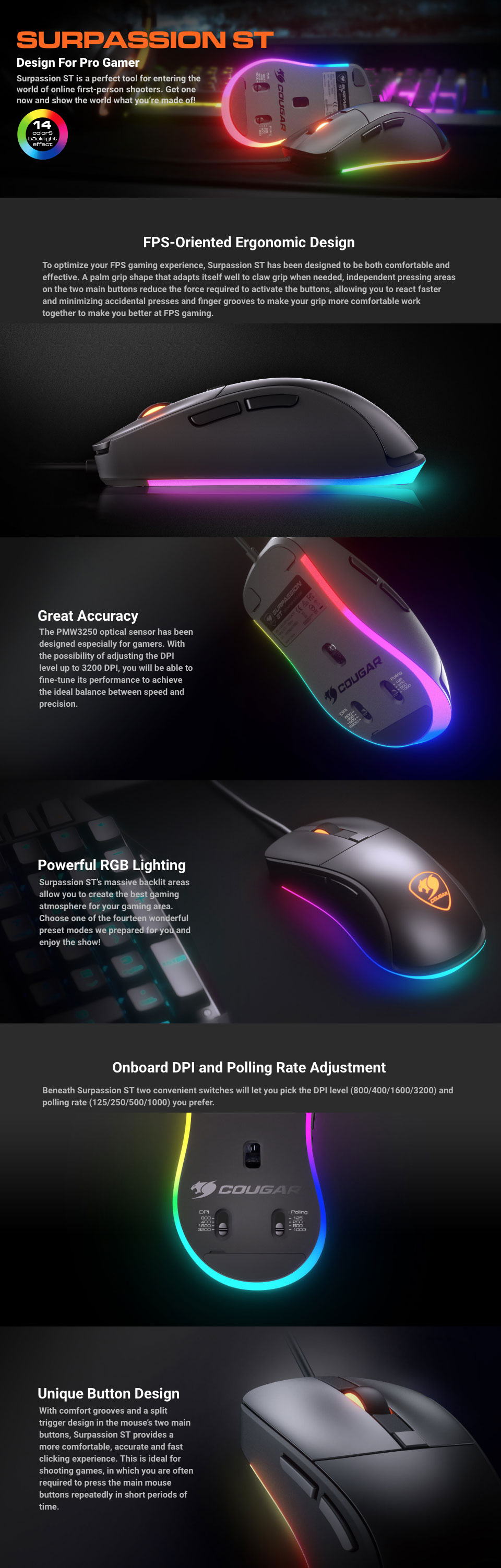 Cougar Surpassion ST RGB Gaming Mouse