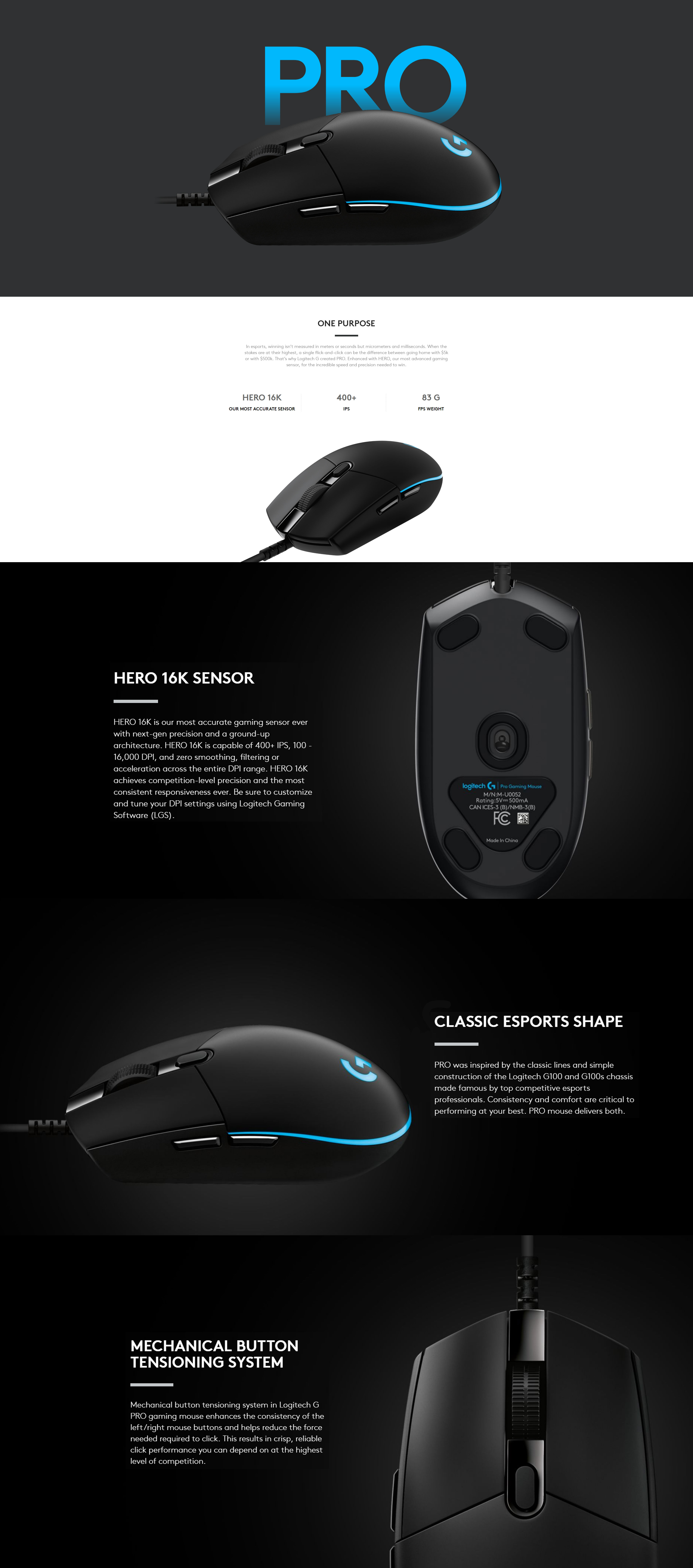 Logitech G Pro HERO RGB Optical Gaming Mouse