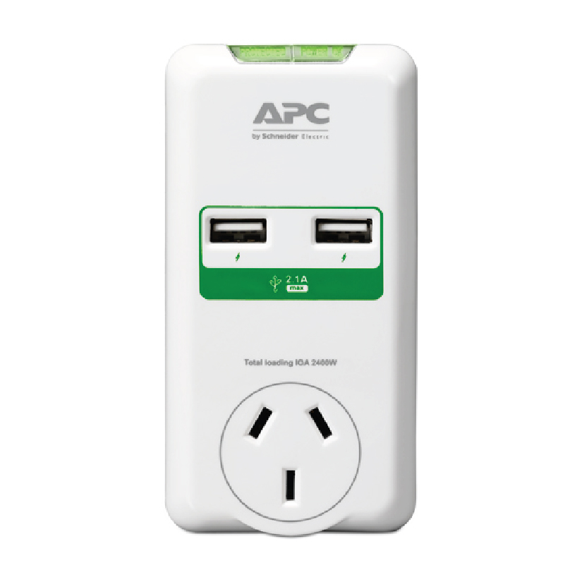 APC Essential SurgeArrest 2 Outlets Wall Mount with Dual USB Ports (5V/2.1A), 230V Australia