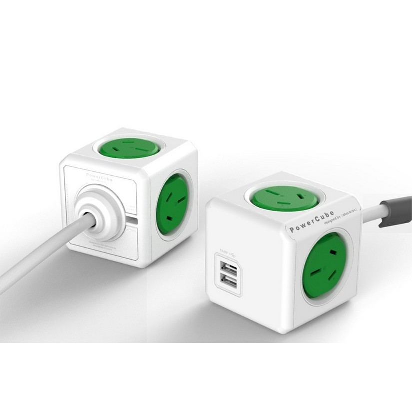 Allocacoc PowerCube Extended 4 Outlets 2 USB 1.5M - Green