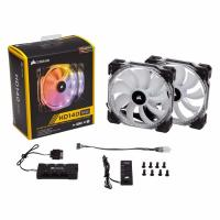 Corsair HD140 RGB LED High Performance 140mm PWM Fan Dual Pack with Controller