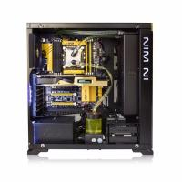 Inwin 805C ATX Mid Tower Aluminum Glass Window Water Cooling Ready, No PSU USB-C (Black/Red)