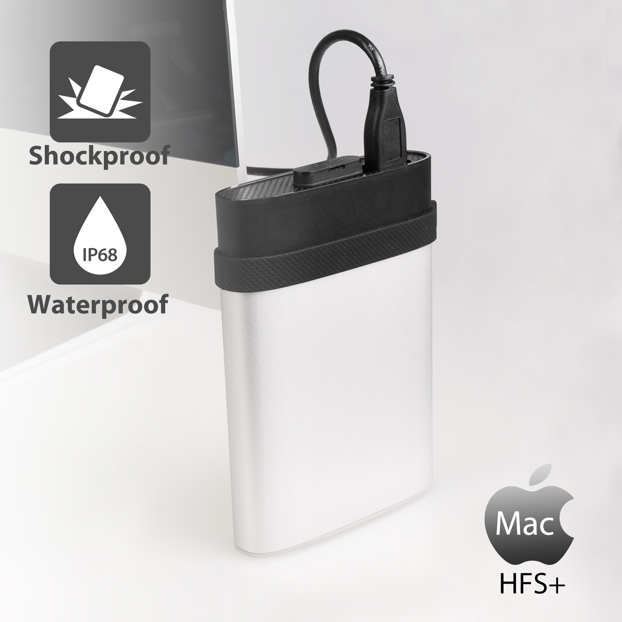 Silicon Power 4TB A85M Shockproof & Waterproof External Hard Drive for Mac (USB 3.0)