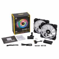 Corsair LL140 Dual Light Loop, Twin Pack 140mm RGB LED PWM Fan with Lighting Node Pro
