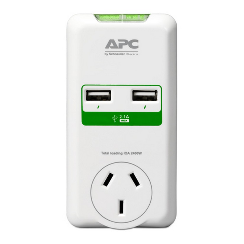 APC (P1U2-AZ-02) APC Essential SurgeArrest 1 Outlet Wall Mount with Dual USB Ports (5V/2.4)