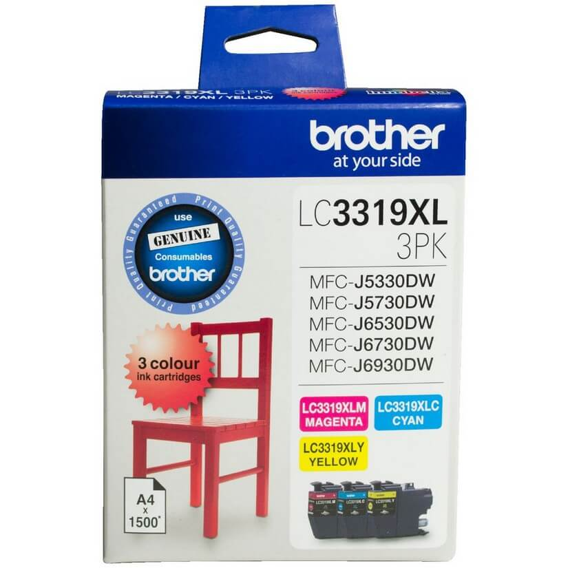 Brother LC-3319XL-3PK Colour C M Y Value Pack Ink Cartridge