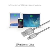 mbeat Toughlink Silver 1.2m Metal Braided MFI Lightning Cable