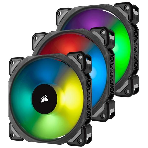Corsair ML120 Pro RGB 120mm Premium Magnetic Levitation RGB PWM 3 Fan Pack With Lightning Node Pro