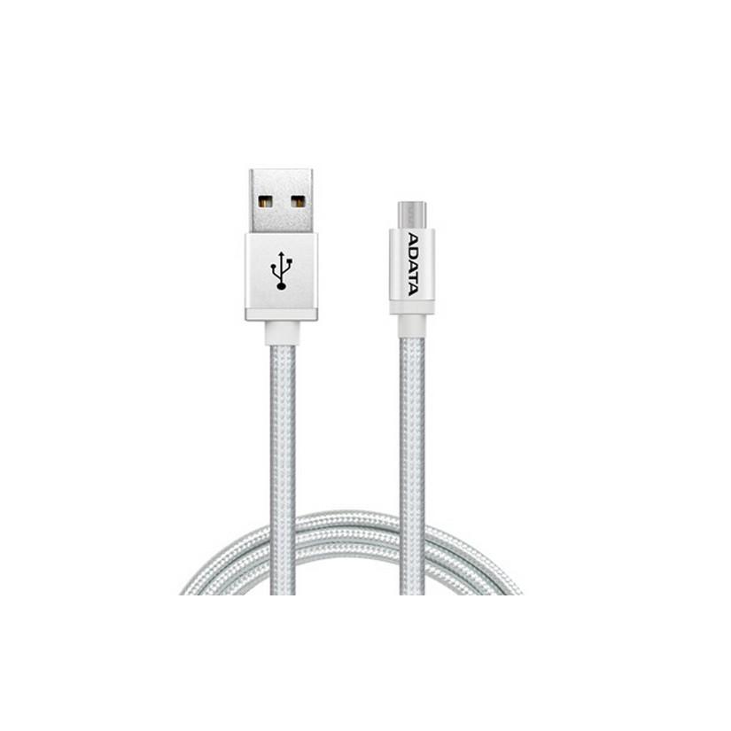 ADATA MicroUSB Cable Aluminium/Knit Silver