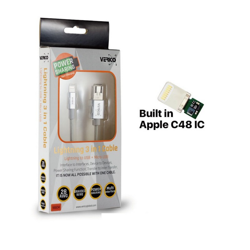 Verico Lightning 3 in 1 Charge & Sync Cable 1m