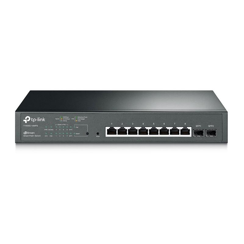 TP-link T1500G-10MPS JetStream 8-Port Gigabit Smart PoE + Switch with 2 SFP Slots