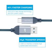 Silicon Power QC 3.0 USB Type-C to USB-A 3.0 Fast Charging Data Transfer Charger Cable, 3.3ft Nylon Braided, Gray