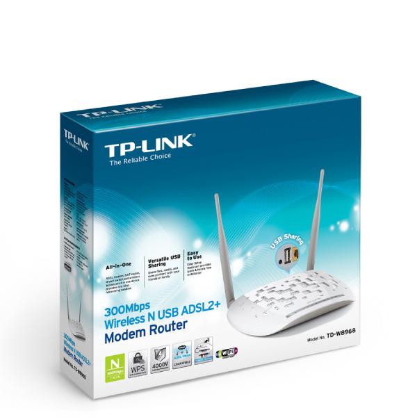 TP-LINK TD-W8968 4-port 300Mbps Wireless N USB ADSL2+ Modem Router ...