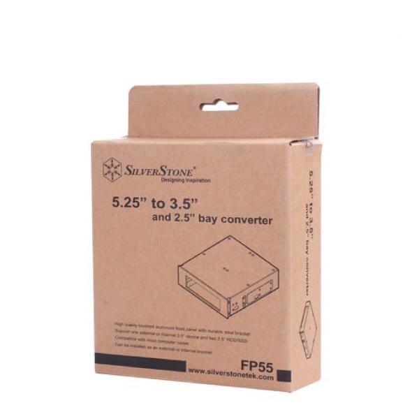 SilverStone SST-FP55B Silverstone 5.25 External Bay Bracket,Black Colour, Accommodates 1x 3.5 and 2x