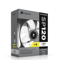 "Corsair ""Air Series"" SP120 LED 120mm Twin Pack White LED,  White High Static Pressure 120mm FanCor"