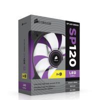 "Corsair ""Air Series"" SP120 LED 120mm Twin Pack Purple LED, Purple High Static Pressure 120mm Fan"