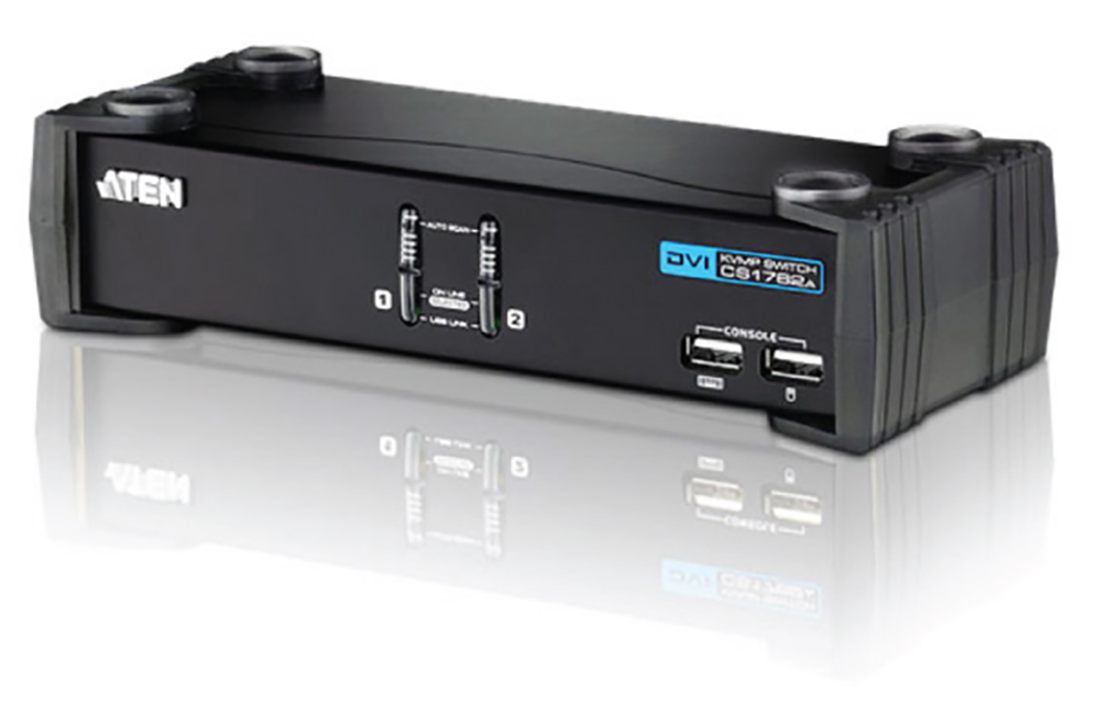 Aten CS1762A-AT-U 2 Port USB DVI KVMP Switch w/ USB 2.0 Hub and Audio - Cables Included
