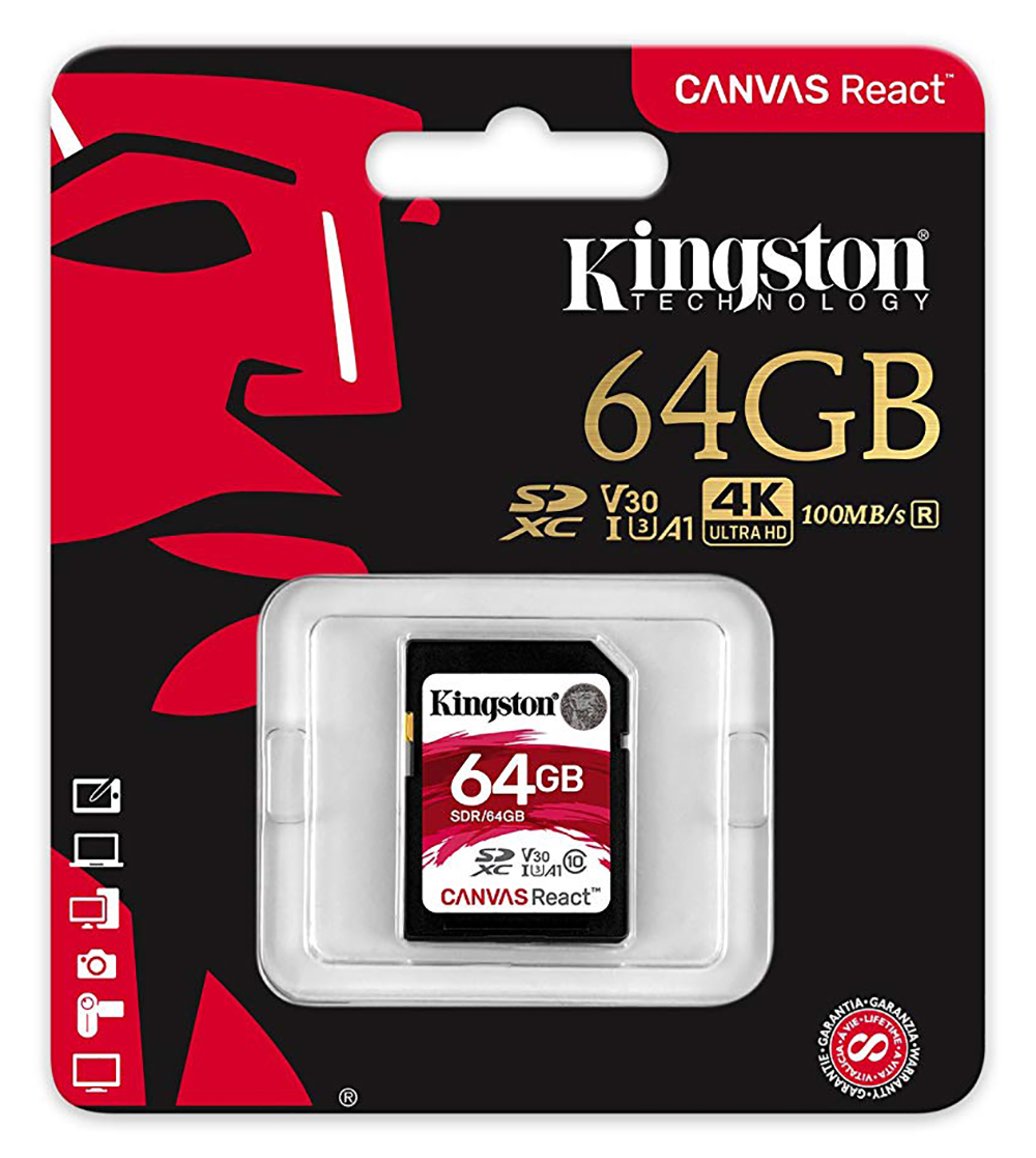 Kingston 64G SDR/64GB Canvas React SD 100MB/s read and 70MB/s write
