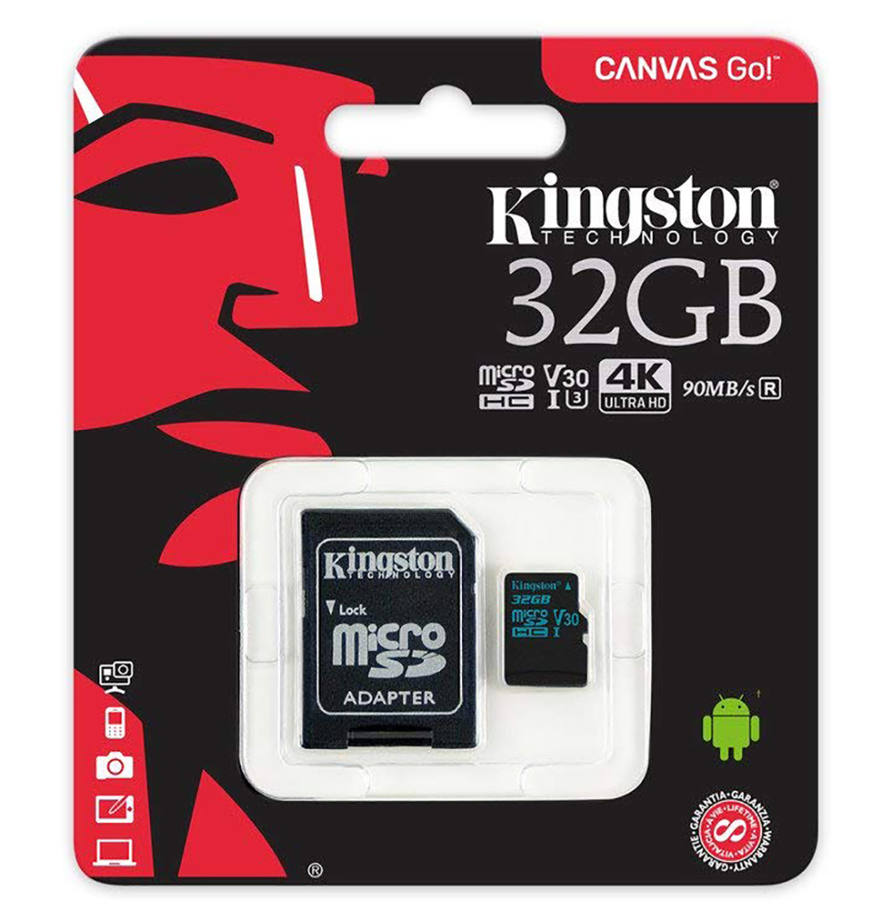 Kingston 32GB SDCG2/32GB Canvas Go MicroSD 90MB/s read 45MB/s write