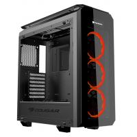 Cougar Puritas Tempered Glass Mid Tower & 3 x Vortex Red LED fans