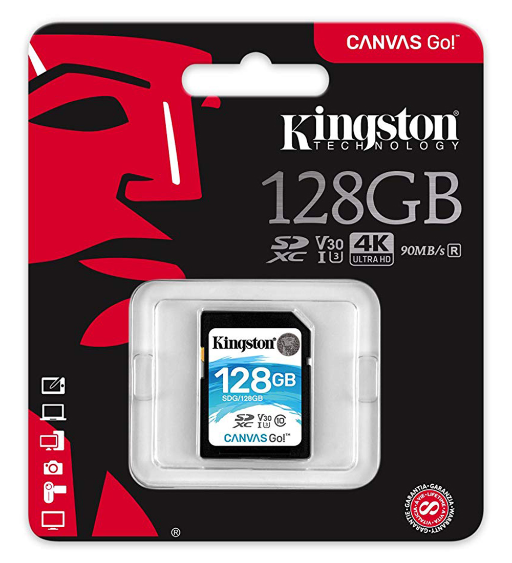 Kingston128GB SDG/128GB Canvas Go SD 90MB/s read and 45MB/s write