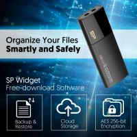 Silicon Power 32GB USB3.0 Secure G50,Hardware Security, AES 256-Bit Encryption-Black