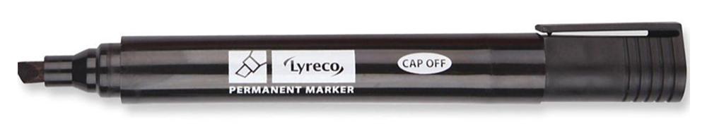LYRECO CHISEL TIP PERMANENT MARKER 2-4MMBLACK - BOX OF 10