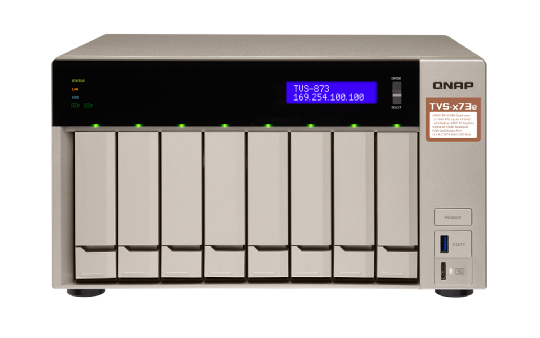 QNAP TVS-873e-4G 8-Bay NAS, AMD RX 421BD 2.1~3.4 GHz, 4GB DDR4 RAM (max 64GB)