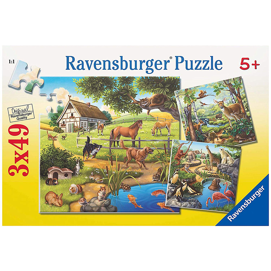 Ravensburger Forest Zoo & Pets Puzzle 3x49pc